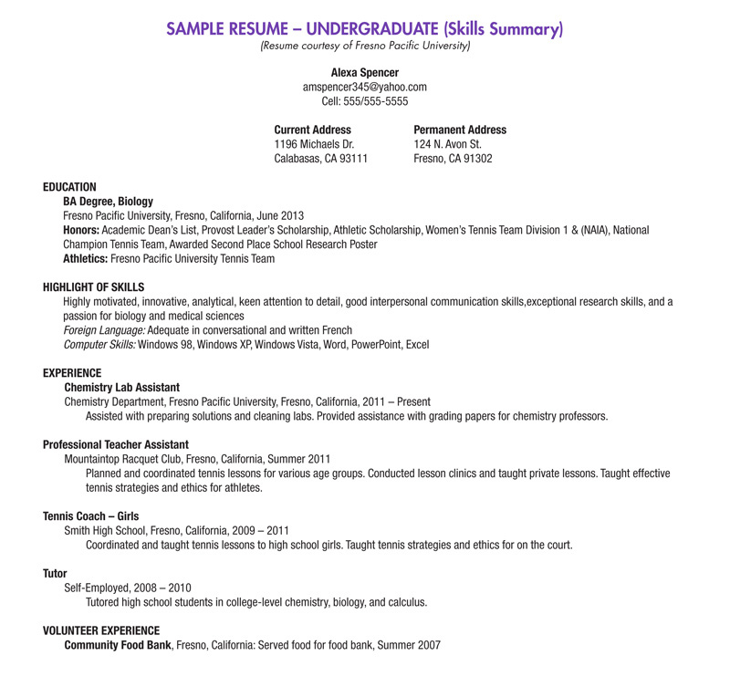 resume sample general entry level resume sample undergraduate resume ...
