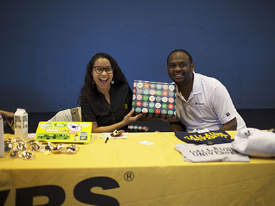 "Sorenson representatives Zoe Rodriquez, '17, and Geoffrey ""Zen"" Mompremier, came out and gave away plenty of Gallaudet merchandise at their booth."