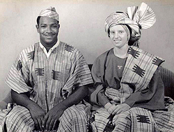 Foster with wife Berta, dressed in traditional Nigerian wedding clothes