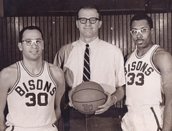 Glenn Anderson, with his coach and co-captain for the Bison basketball team