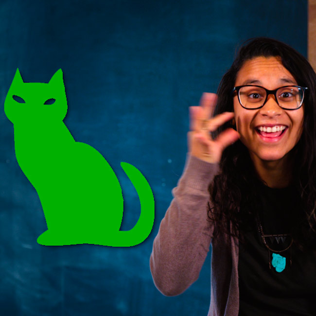 "Hispanic woman signs ""cat"" with green cat icon"