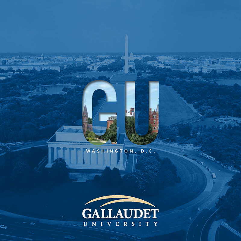 Cover of the Undergraduate Viewbook -- aerial view of Washington D.C.'s monument, pool and Abraham Lincoln memorial. image is set in blue overlay. The letters GU has an image inside there, of Gallaudet.  Below that is Gallaudet's logo