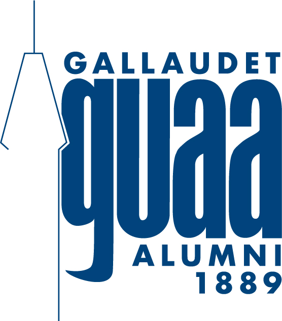 Gallaudet University Alumni Association logo. outline of the tower clock with guaa against it