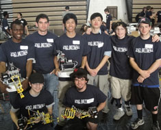 Image: The MSSD Botball teams yielded the best results ever at the 2010 Greater D.C. Regional Botball Tournament on April 17, 2010 in Fairfax, Virginia. Pictured from left to right in front: Zachery Tolen and Jacob Fassett. Back row: Tobe Amasiatu, John Hagner, Tim Martin, Xian Huang, Jeremy Smith and Thomas Francis. (Photo Credit: Wei Wang)