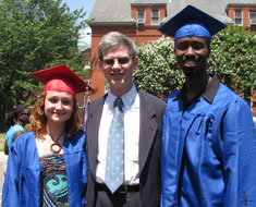 Image: 2010 MSSD graduates and Williams Scholars Ashleigh Dreyer and Wade Green, with scholarship donor Paul