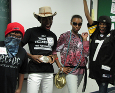 Image: At the movies…Jonathan Guzman, Malita Bailey, Justyce Abbott and Diamante Brooks act out the characters from the movie scripts they created.