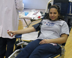 Image: MSSD student Erica Gilliam prepares to donate blood at the Clerc Center Random Acts of Kindness Blood Drive held on January 14.