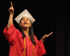 "Image: Mika Bennett-Fraychineaud performs her poem, ""Doors of Life,"" at the MSSD graduation on June 10."