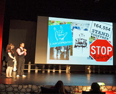 Image: For the Mr. and Miss Deaf Teen Pageant held February 24, Maggie Hangstorfer and Robert Parcells made a presentation on bullying. They were inspired by Kirk Smalley's talk on Stand for the Silent last fall.