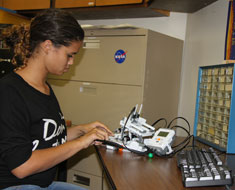 Image: Student Cahlah Chapman likes the technical challenges of building a robot.