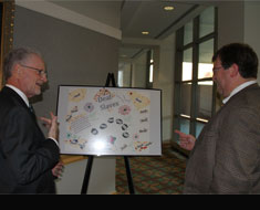 Image: Gallaudet University president T. Alan Hurwitz and provost Stephen Weiner view the poster exhibit following the awards ceremony.