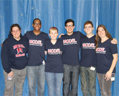 Image: MSSD host team: Sara Stallard (coach), Emmanuel Njoku (captain), Samantha Williamson, David Bruno, Matthew Thompson, and Rachel Parker (coach).