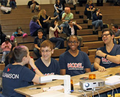 Image: The MSSD team shared a laugh before one of the Preliminary Match rounds begins.