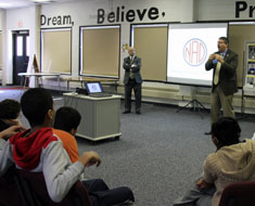 Image: NAD CEO Rosenblum (left) and president Chris Wagner chatted with KDES middle school students about advocacy for oneself and others. (All photos: Susan Flanigan)
