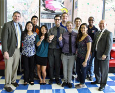 Image: During lunch in the MSSD Eagle Zone, NAD president Wagner and NAD CEO Rosenblum (far left and far right) met with students who participate in either the school's Junior NAD chapter or the Student Body Government.