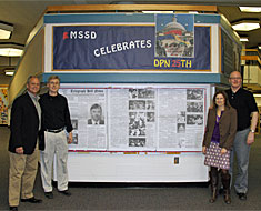Image: DPN's student leaders—Tim Rarus, Greg Hlibok, Bridgetta Bourne-Firl, and Jerry Covell—addressed MSSD and KDES students at an assembly on March 8 about the amazing week back in 1988 when Gallaudet launched the DPN movement that spread its message of empowerment around the world.