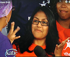 Image: MSSD student Gabriela  Cevallos appeared on the Katie Couric Show in September. Couric asked Gabriela about her experience with MSSD alumna Letta Cartwright in the Big Brothers Big Sisters program.