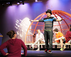 Image: Fall Showcase director Jessica Willoughby directs a scene with the Old Green Grasshopper, played by MSSD student Oscar Zayas.