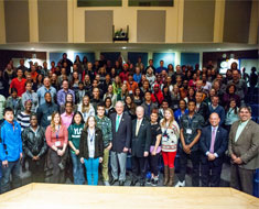 Image: Senator Harkin and the participants of the Jr. NAD Conference (Photo: Matt Vita)