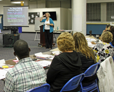 Image: Presenters Mary Weiner, director of Adult Degree Program at Gallaudet University (shown), and Marsha Miceli, director of the Pennsylvania School for the Deaf Student Development and School-Wide Programs, lead the OBPP training for Clerc Center teachers, staff, and parents on August 9-10. (Photo: Susan Flanigan)