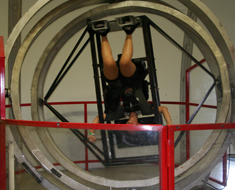 Image: MSSD student Johanna Cruz takes a spin in the multi-axis trainer that U.S. astronauts trained on as part of their preparation for the Gemini missions.