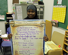 Image: The fourth grade students drafted their own classroom version of the Constitution. (Photo: Susan Flanigan)