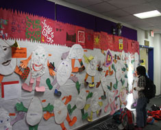 "Image: The Kindergarten through second grade classes created the ""Our Humpty-Dumpty Feelings"" bulletin board.  This showed how individuals' gentle feelings can be shattered into pieces like a fragile egg and only they are able to put the pieces back together."