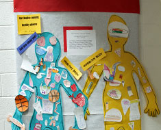 Image: Third through fifth graders created art and messages for positive versus unhealthy lifestyles.