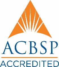 "Orange Triangle with sun in middle, and words ""ACBSP Accredited"" below"