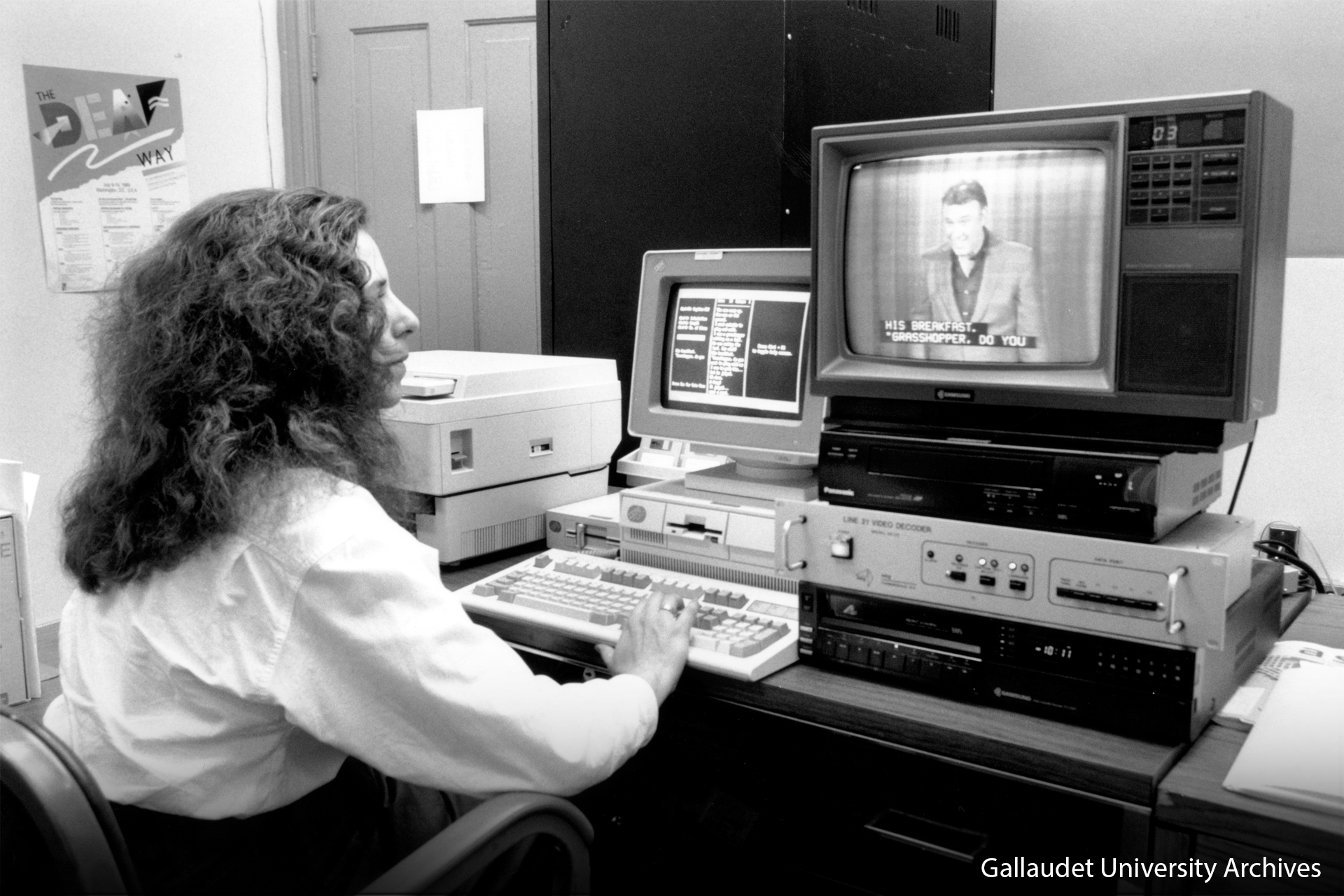 Woman works on many closed captioning technological all new television.