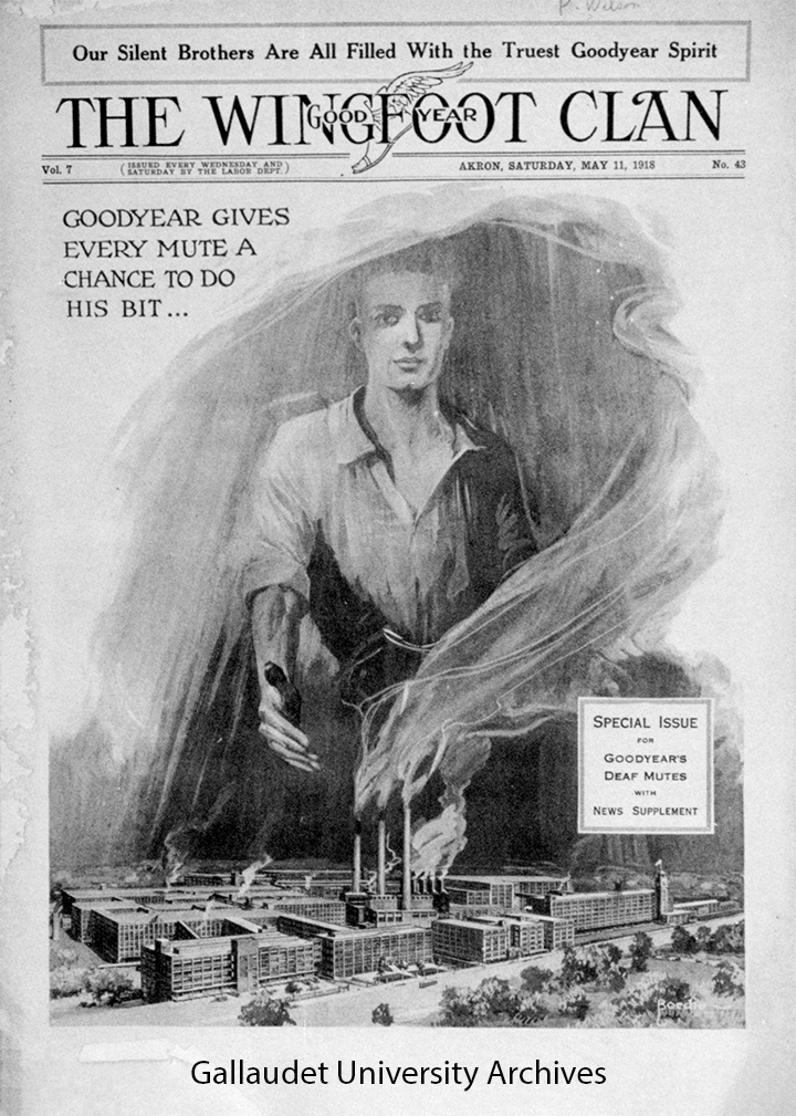 The Wingfoot Clan magazine cover depicting factory buildings with smoke in the foreground with enlarged drawing of a man in the background.