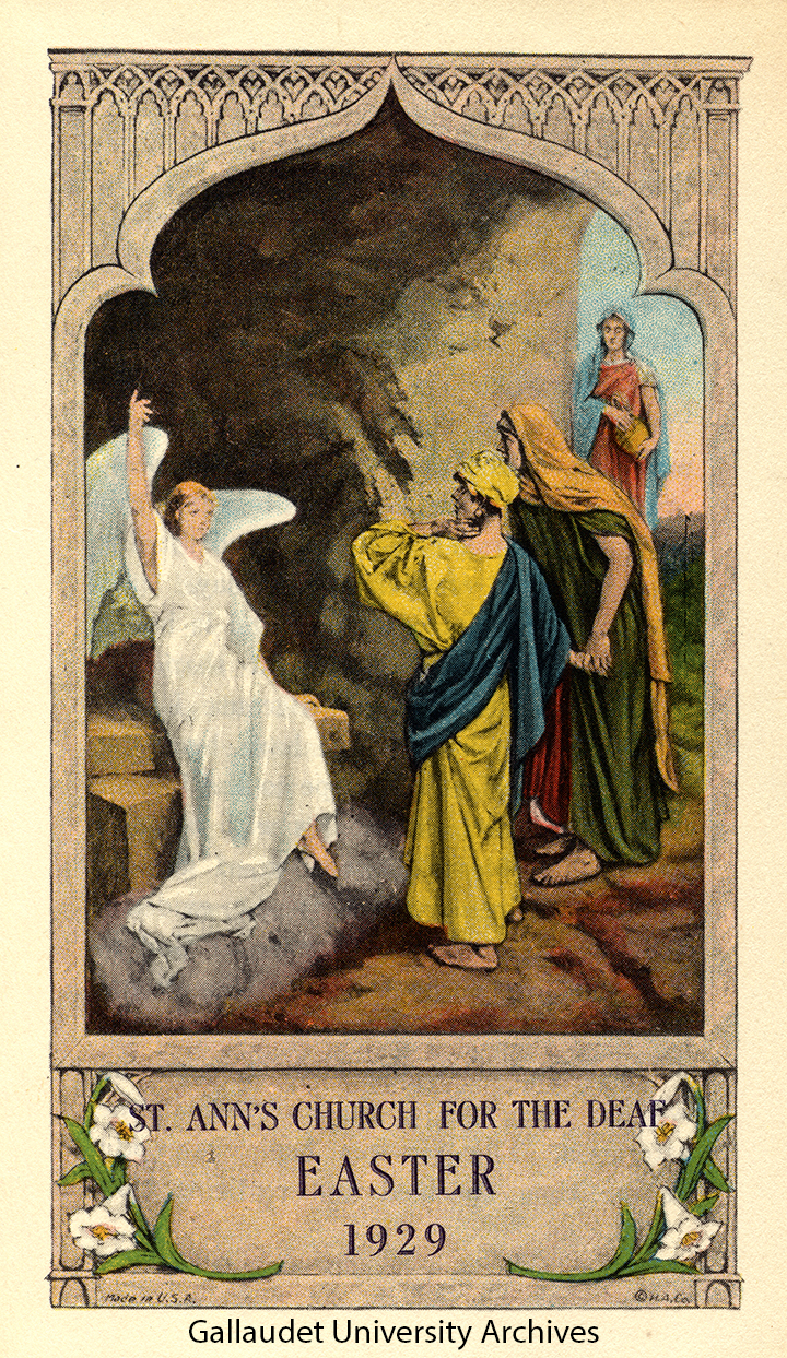 Angel woman speaks three women at the gravesite of Jesus Christ - an image depicting the Resurrection of Christ.