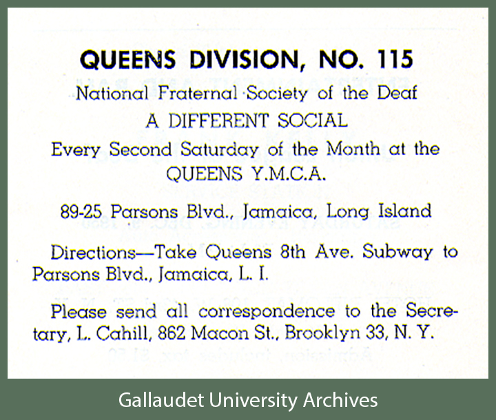A clip of an ad promoting NFSD Division, No. 115 - in Queens NYC showing their address, hours, and directions to the club.