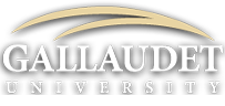 "Gallaudet University logo, with a white background, buff double ""swoosh"" and blue lettering"