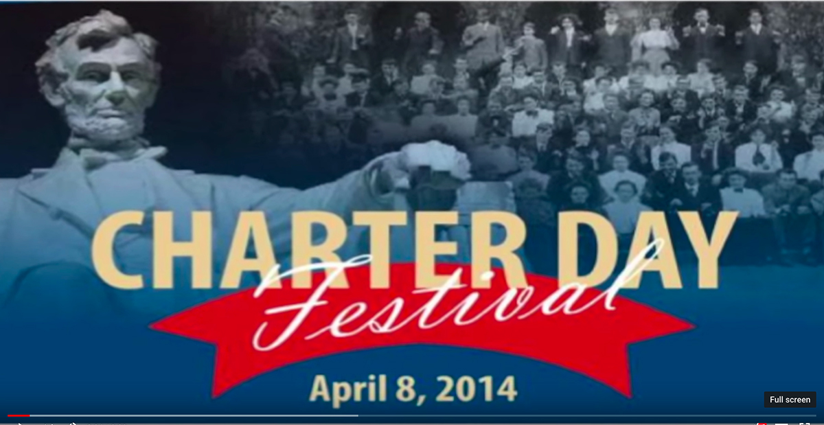 "designed background. Abraham Lincoln statue to the left, crowd of people to the right. Words, ""Charter Day"" in bold, gold letters. ""Festival"" in cursive, with a red ribbon in the background. ""April 8, 2014"""