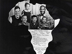 Family photo inserted in a frame shaped as the African continent