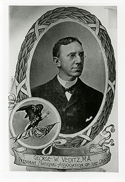 "George Veditz is featured in this poster from the National Association of the Deaf.  The poster shows his image framed by an oval frame. A smaller image of an eagle is on the lower left and a banner is beneath, that says ""George W. Verditz, M.A., President, National Associaton of the Deaf"