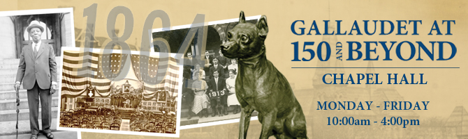 Banner design for Gallaudet at 150 and Beyond exhibit