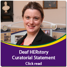 IMG DES: Photo of Curator Meredith. Text: Click to read Curatorial Statement