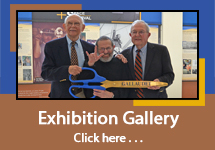 "Exhibition Gallery Thumbnail - Photo of three Deaf men as part of Gallaudet Eleven - holding a large ribbon cutting scissors with exhibition in the background. The thumbnail has blue and brown colors with text saying ""Exhibition Gallery, Click here..."""