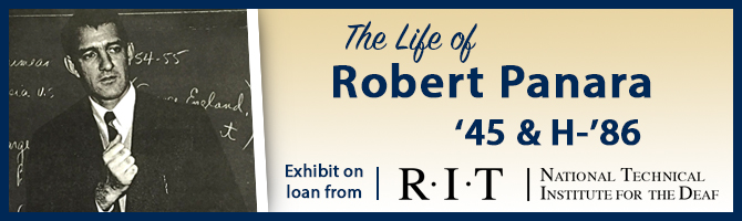 Banner design for the life of Robert Panara exhibit