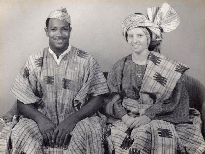 Andrew Foster and his wife Berta in Nigerian attire.