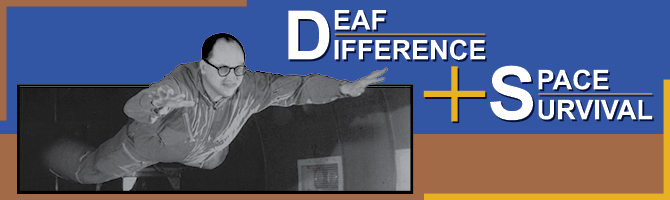Banner design for Deaf Difference + Space Survival exhibit
