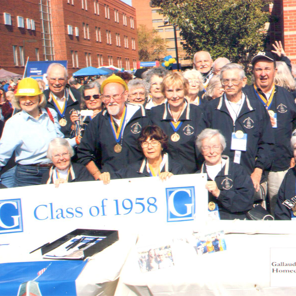 Group photo of Class of 1958 with Dr. Jane Norman, Director Emerita during homecoming in 2008.