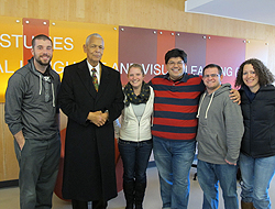 Image: Following his presentation, Bond met with history, government, and international studies majors in Dr. Roberto Sanchez's class, along with faculty members Dr. David Penna and Dr. Brian Greenwald, for an in-depth discussion. Students pictured with Bond are (from left): Matthew Gatlin, Brittany Turner, Boyd Nakamura, Jesse Viera, and Jennifer Goldbetter. (Photo: Dr. Roberto Sanchez)