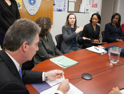 Image: From left: Deputy U.S. Attorney General James Cole, Bea Hanson, principal deputy director, Office on Violence Against Women, Gannon, Charlotte Burrows, Associate Deputy Attorney General, and McCaskill.