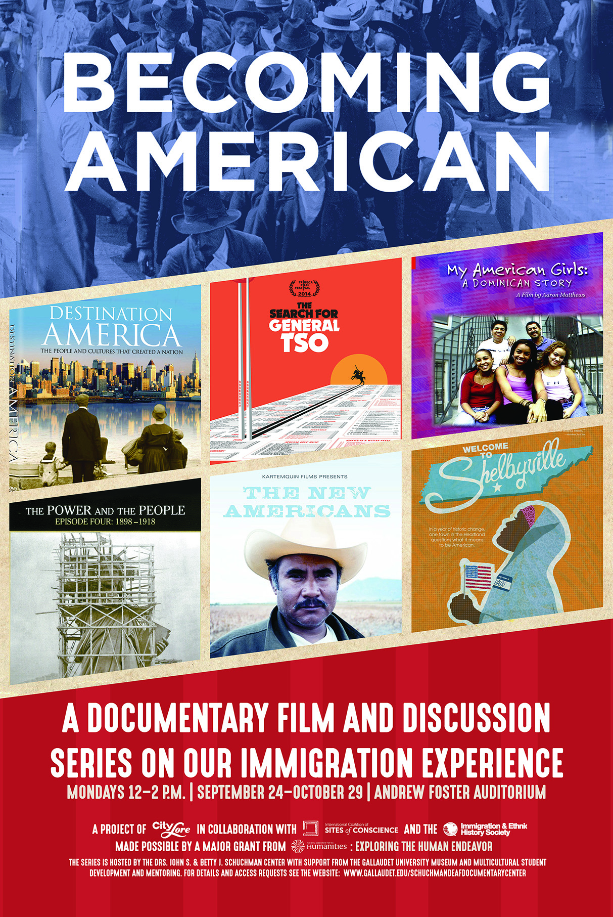 Becoming American campaign poster. It has several images of several movies, have information and dates/times of screenings.